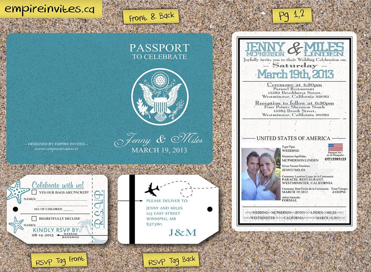 Custom Affordable 2-page passport wedding invitations Canada ...