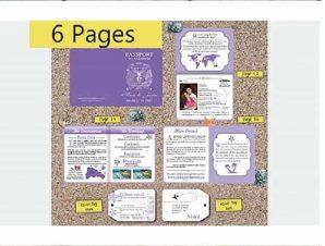 Destination Passport Wedding Invitations 3 (4x5inch -6 Page)