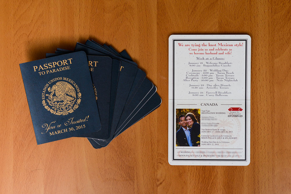 Passport Save The Date Cards to Moon Palace, Mexico - EMPIRE INVITES