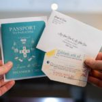 teal passport and luggage tag rsvp