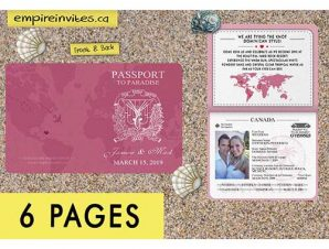 Destination Passport Wedding Invitations #4 (6 Page)