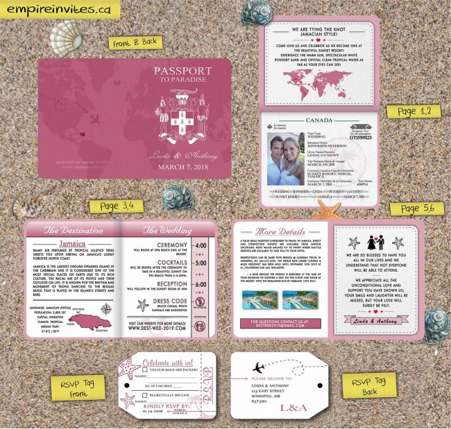 Custom 6-page Passport Wedding Invites With World Map