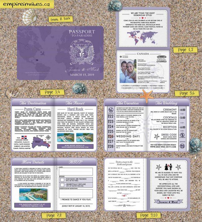 Custom Passport Wedding Invites With World Map Cover