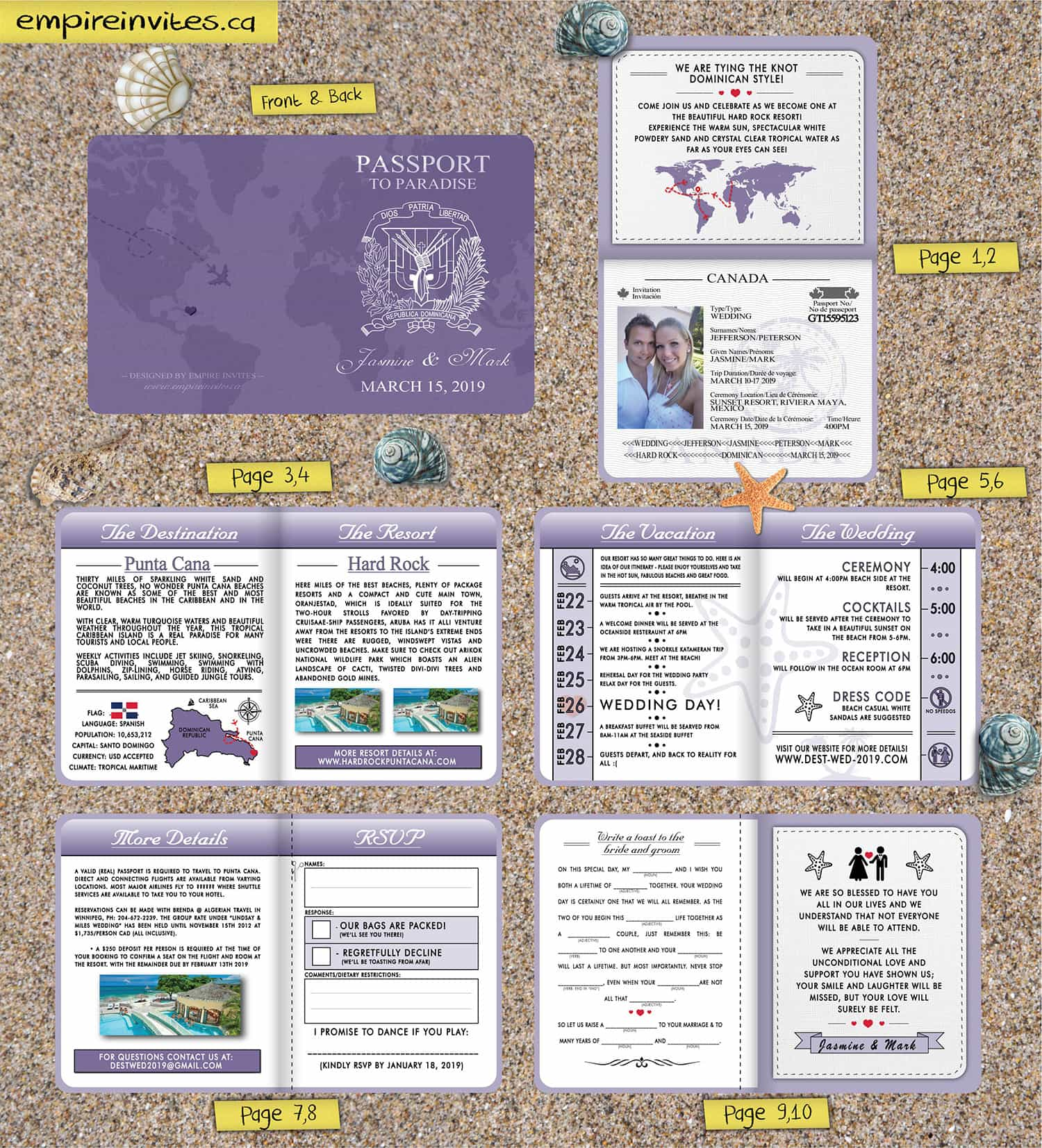 Custom Passport Wedding Invites With World Map Cover