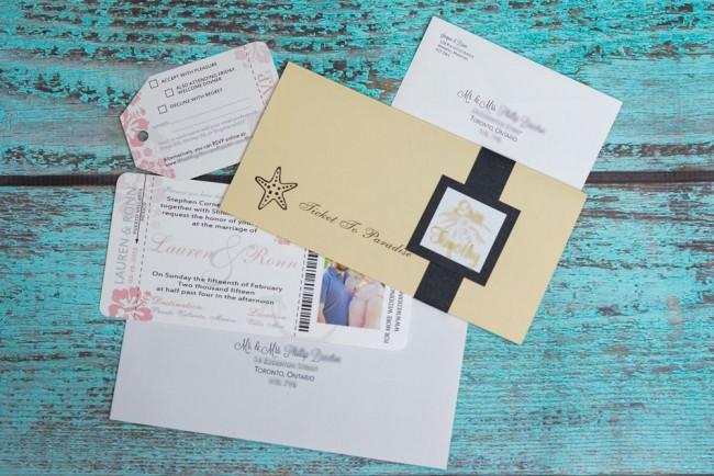 peach boarding pass wedding invitations