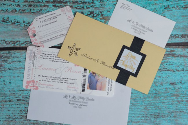 Peach Boarding Pass Wedding Invitation  (2)