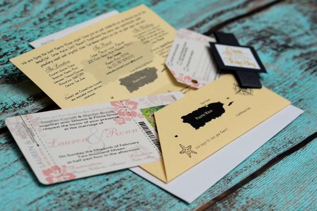 Peach Boarding Pass Wedding Invitation  (4)