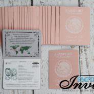 Peach Passport Wedding Invites to Grand Sunset Princess, in Mexico