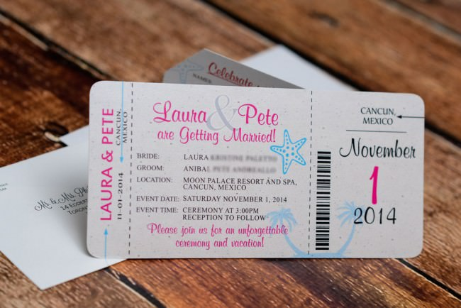 Pink Blue Boarding Pass Invitation Moon Palace Mexico (1)