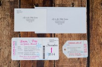 Neon boarding pass wedding invitations to moon palace resort, Mexico