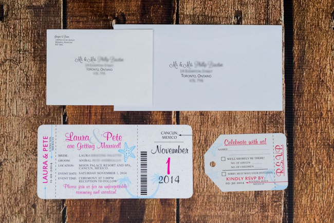 Pink Blue Boarding Pass Invitation Moon Palace Mexico (2)