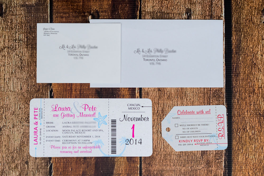 Neon boarding pass wedding invitations to moon palace resort ...