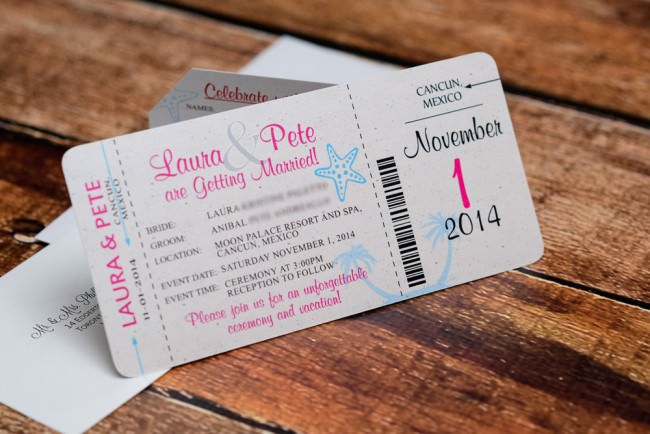 Pink Blue Boarding Pass Invitation Moon Palace Mexico (3)