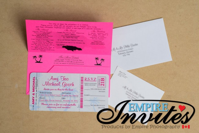Pink Boarding Pass Wedding Invitation Grand Bahia Jamaica (1)