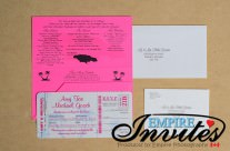 Pink Boarding Pass Wedding Invitations to Grand Bahia, Jamaica
