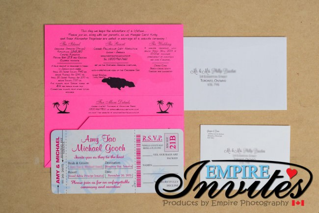 Pink Boarding Pass Wedding Invitation Grand Bahia Jamaica (2)
