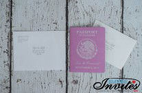 Pink passport wedding invitations to Dreams Villamagna, Mexico