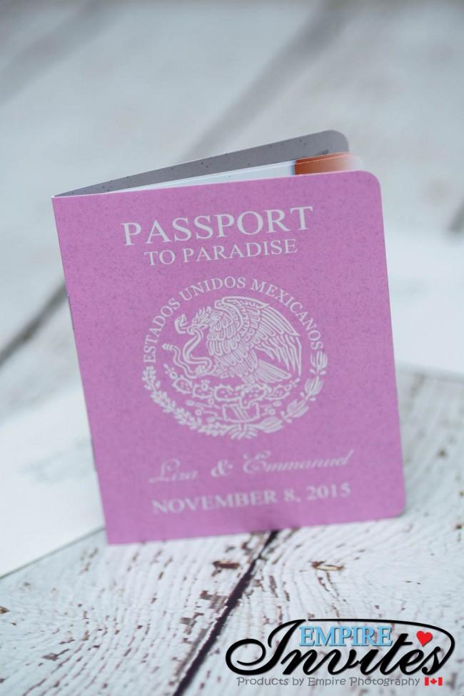 Pink Destination passport wedding invitations Dreams Villamagna mexico (2)