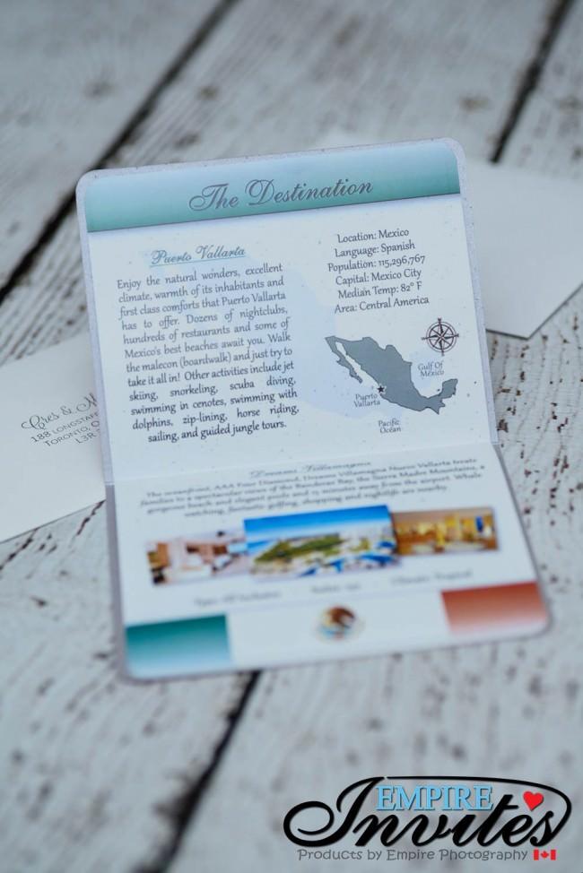 Pink Destination passport wedding invitations Dreams Villamagna mexico (3)
