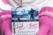 Pink Ski Pass / Lift Ticket Save The Date Cards to Harbor Springs, MI