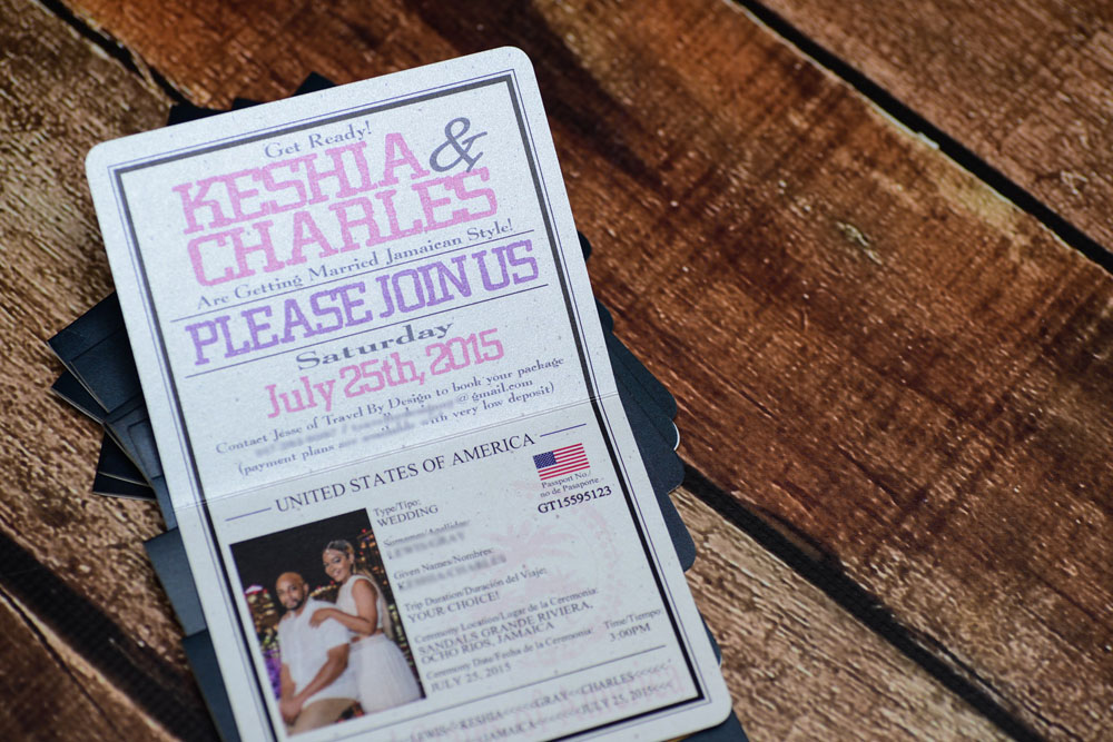 Purple Passport wedding invitations to Sandals Grande Riviera ...