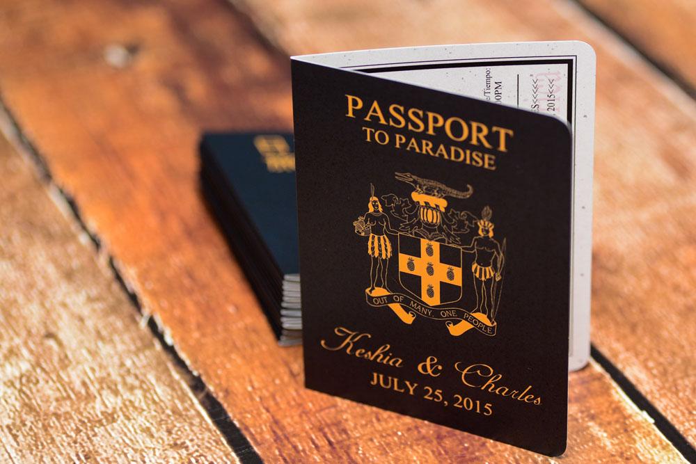 Purple Passport wedding invitations to Sandals Grande ...