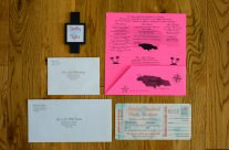 Peach boarding pass wedding invitations to Dreams Huatulco Resort, Mexico