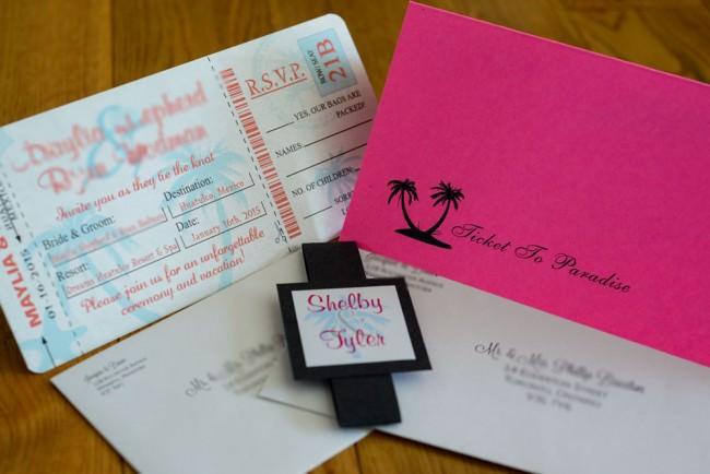 Pink Peach Boarding Pass Inviation Dreams Resort Mexico (4)