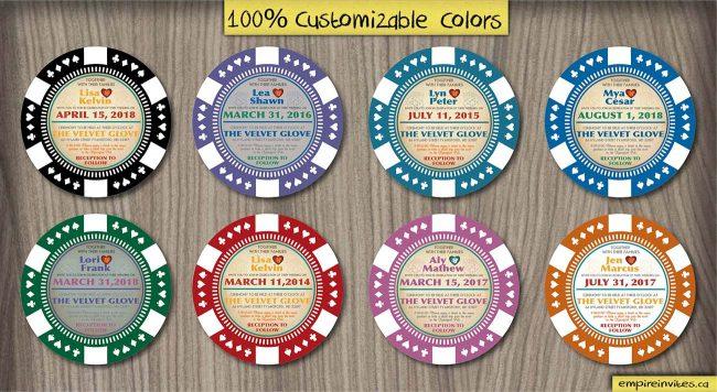 poker chip wedding invitations
