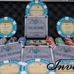 teal poker chip themed invites