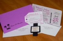 Purple Boarding Pass Wedding Invitations to Puerto Rico