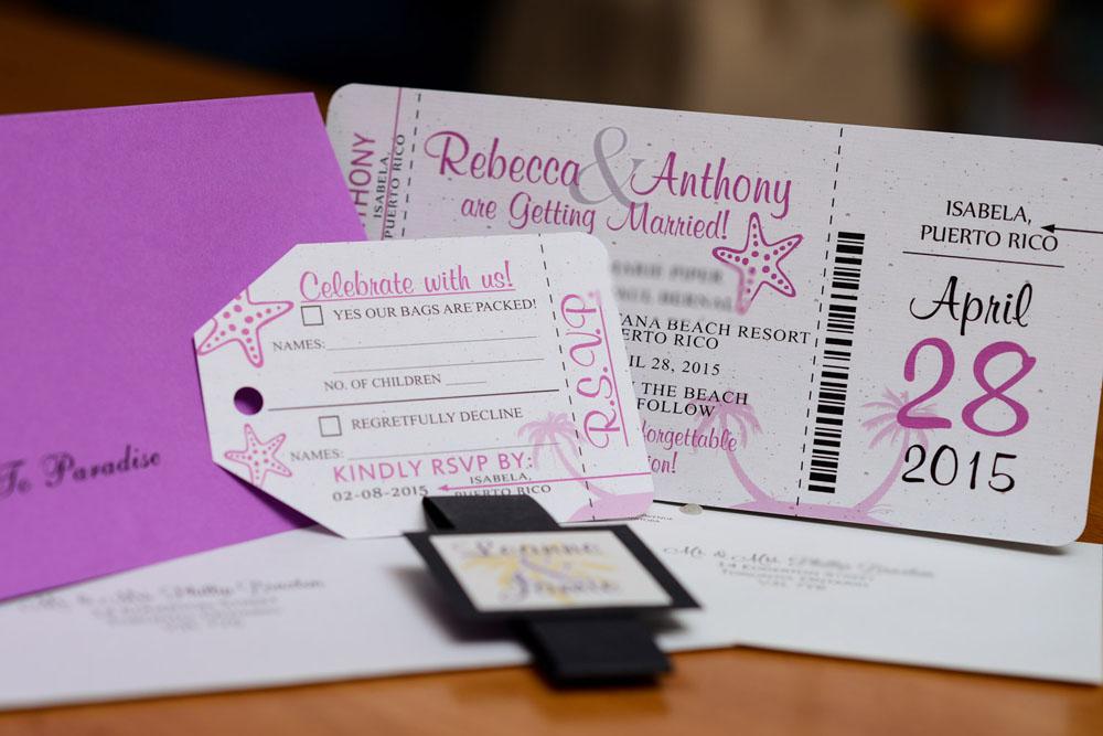 purple boarding pass wedding invitations to puerto rico
