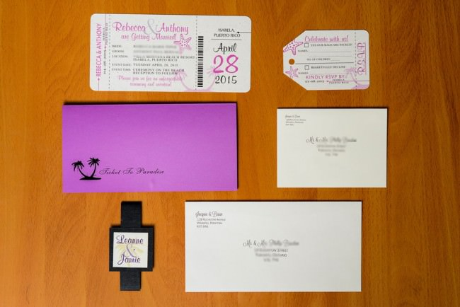purple boarding pass invite package