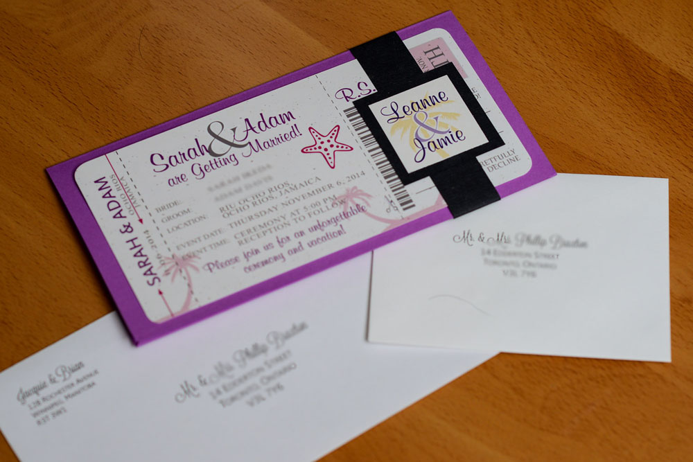 Purple boarding pass wedding invitations to rui ocho rios for Lavender avenue wedding invitations