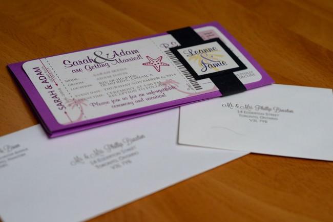 Purple Boarding pass invitation Rui Ocho Rios Jamaica (2)