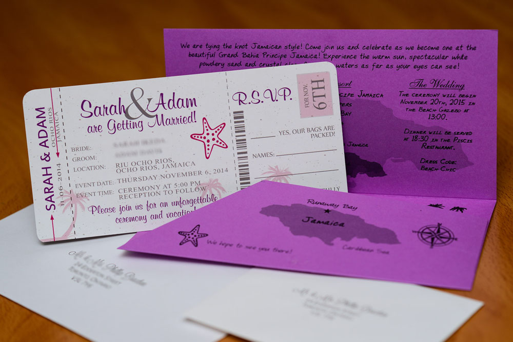 opened boarding pass wedding invite