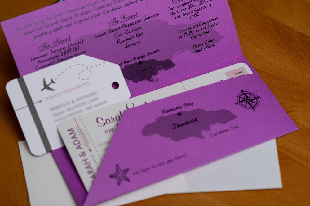 Jamaica Wedding Invitations: Purple Boarding Pass Wedding Invitations To Rui Ocho Rios