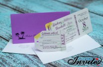 Purple Boarding pass wedding invitations to Dreams Los Cabos Mexico
