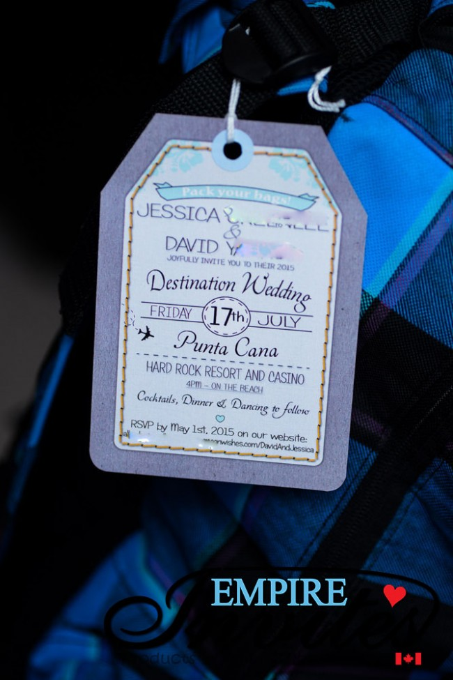 Purple Luggage Tag Wedding Invitation Hard Rock Punta Cana (2)