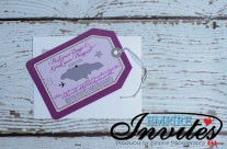 Purple Luggage tag wedding invites to  Jewel Runaway Bay, Jamaica