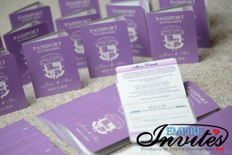 Custom Destination passport wedding invitations From Winnipeg ...