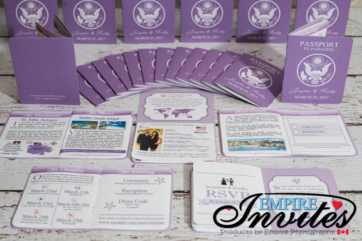 Lavender Passport Wedding Invitations to Sandals Grande Antigua ...