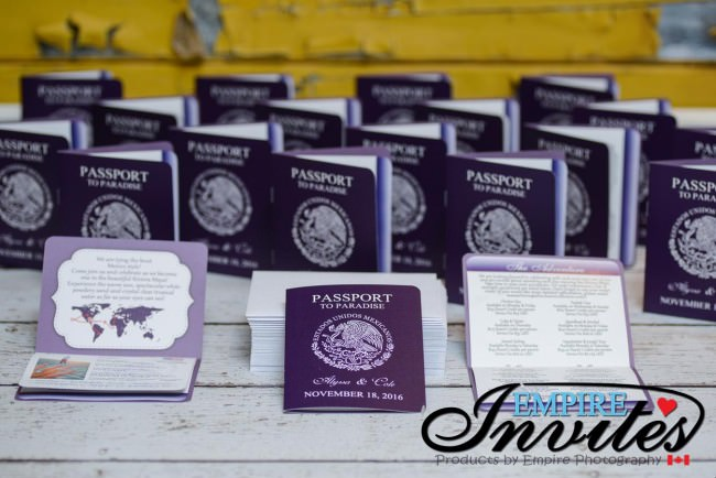 Purple passport wedding invites hard rock riviera maya mexico (1)