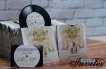Gold Record label wedding invitations to Monastary Beach