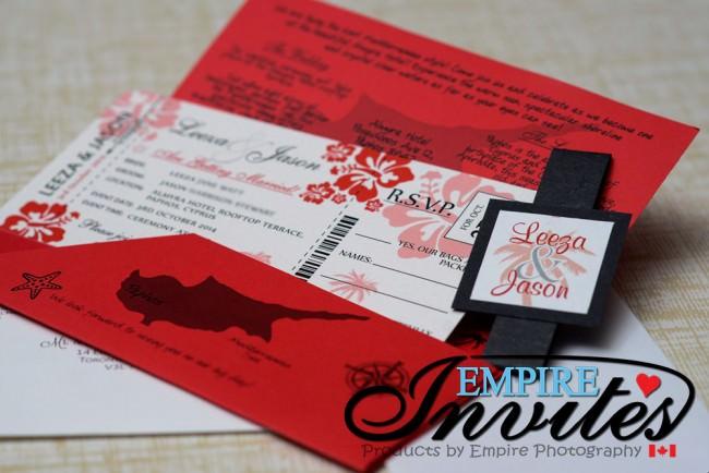 Red Boarding Pass Wedding Invitations to Almyra Hotel Cyprus