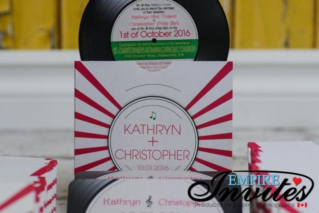 Red Disco Record wedding invitiations (6)