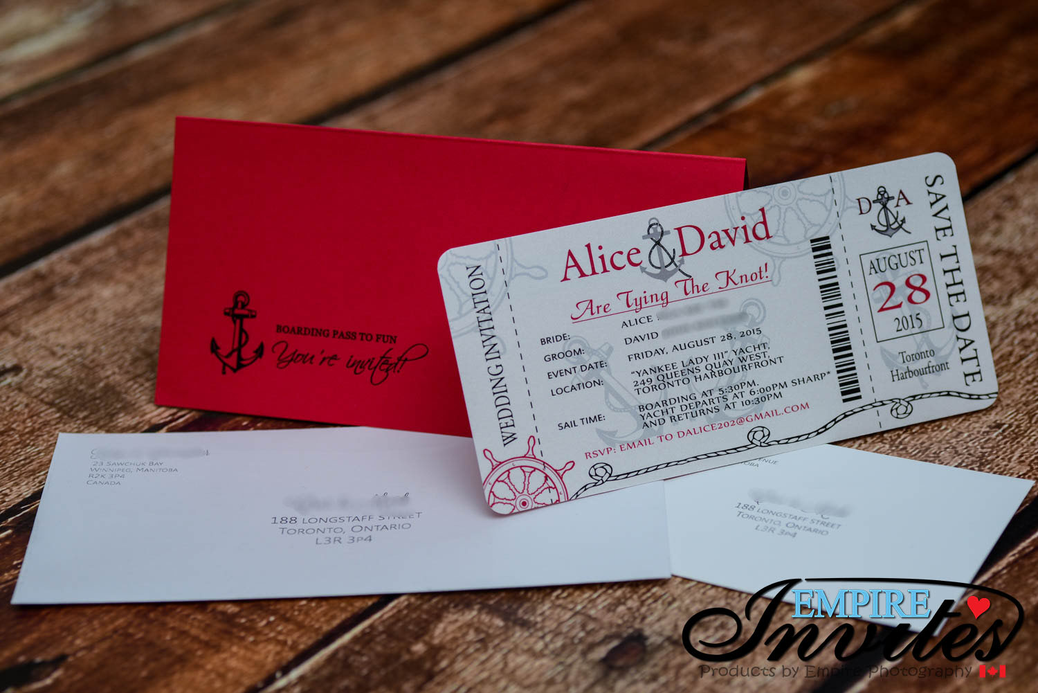 Red Nautical Boarding pass wedding invitations (1) | ---- EMPIRE ...