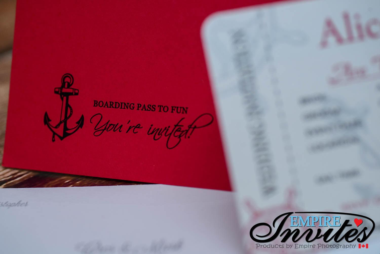 Red Nautical Boarding pass wedding invitations (2) | ---- EMPIRE ...