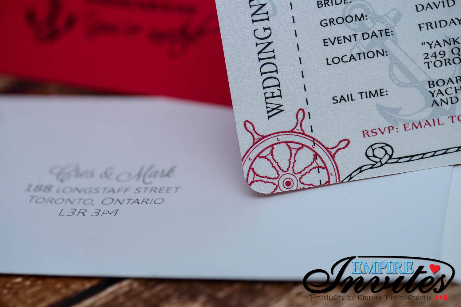 Red Nautical Boarding pass wedding invitations (3) | ---- EMPIRE ...