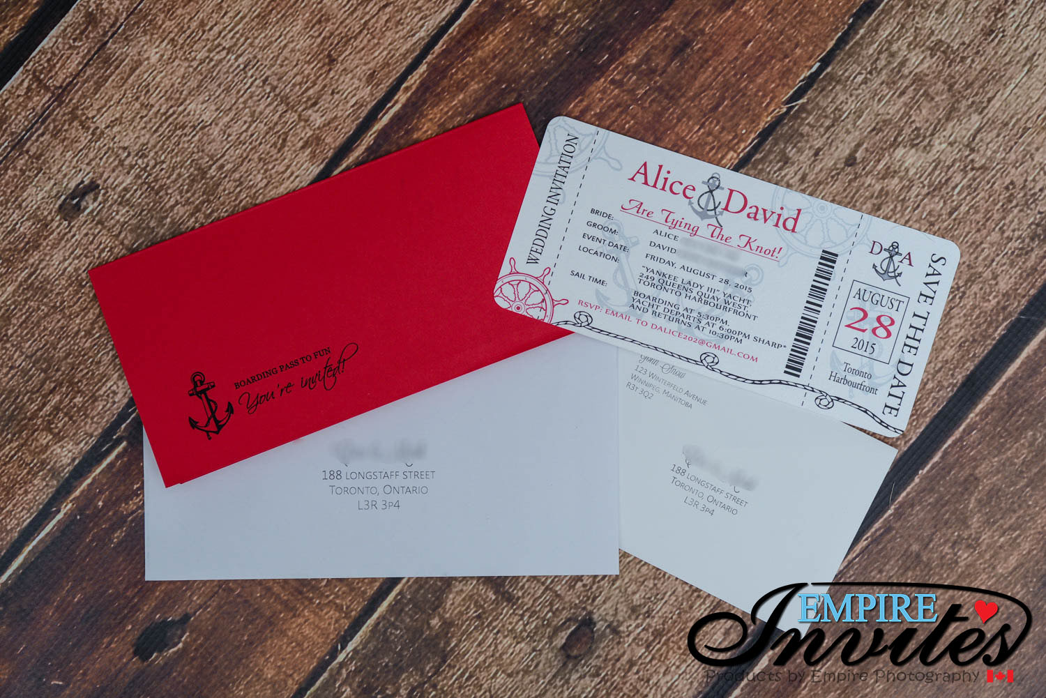 Red Red Nautical Boarding pass wedding invitations at the Toronto ...